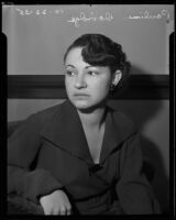 Pauline Davidge, central figure in mother's child support suit against father, Los Angeles, 1935