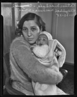 Welfare check forger Esther Machada with baby daughter Elizabeth, Los Angeles, 1935