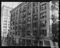 Aftermath of Norton Building fire on Sixth Street and Broadway, Los Angeles, 1935