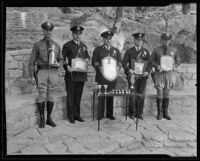 Los Angeles Police Department championship pistol team with trophies, Los Angeles, 1935