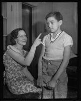 Helen Wiggins with son Eugene Wiggins, who was stranded in Chavez Ravine, Los Angeles, 1935