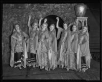 Costumed women in shriner Arabian Nights' pageant, Los Angeles Memorial Coliseum, 1935