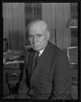 U.S. Senator Elmer Thomas of Oklahoma sits for a portrait photograph, Los Angeles, 1935