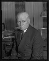 U.S. Senator Elmer Thomas of Oklahoma sits for a portrait photograph, Los Angeles, 1935