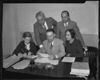 Mason Peters, Diana Randolph, Betty Kennedy, Herb Batty, and Kendall Evans of the Will Rogers Memorial Commission, Los Angeles, 1935