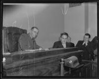 Deputy Coroner Frank Monfort listens to Hal Bowman's testimony, Los Angeles, 1935