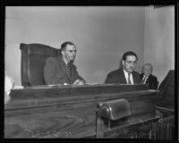 Police officer Ernest Hice testifies to Deputy Coroner Frank Monfort, Los Angeles, 1935