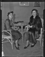Mrs. E. B. Dixson and Mrs. Floyd W. Bodle at the Hollywood Women's Club, Los Angeles, 1935