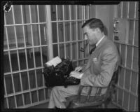 H. H. Van Loan writing in jail, Los Angeles, 1934