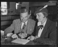 Bozena Grotte and H. H. Van Loan verify the legality of their marriage, Los Angeles, 1935
