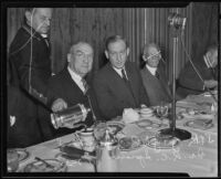 Joseph R. Kowland and Dr. R. G. Sproul at the State Chamber of Commerce Luncheon, Los Angeles, 1935
