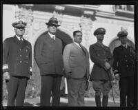 Adm. Thomas J. Senn, G. Aubrey Davidson, Gen. Jose Mijares Palencia, Col. William H. Simpson, and Jerome Allen, Southern California, ca. 1935