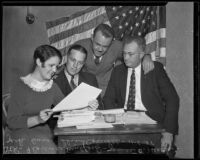 Florence Mulford, James B. Heath, Jack Dunn, and Slim Colwell plan the Armistice Day parade, Los Angeles, 1935