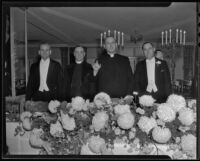 Rev. Frank Fagerburg, Rev. Harry Beal, Bishop John J. Cantwell, and Rabbi Magnin at the Ambassador, Los Angeles, 1935