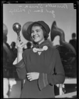 Jane Priscilla Sousa with a marching band baton, San Diego, 1935