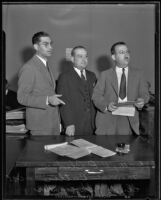 Monroe Butler in court with Clyde Shoemaker and Huntington P. Bledsoe, Los Angeles, 1935