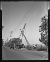 Workers push down telephone pole to make Mines Field safer, Inglewood, 1935