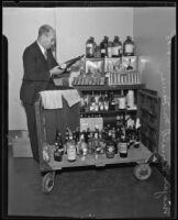 Major Ronald M. Harris after liquor raid, Los Angeles, 1935