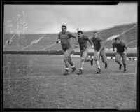 Harry Shuford, Bobby Wilson, J. R. Smith, and John Sprague prepare to play against Bruins, Columbia, 1935