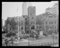 Old Los Angeles County Courthouse being cleared for destruction, Los Angeles, 1935