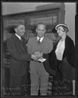 H. H. Van Loan and Bozena Grotte are married to each other for a second time by Judge Goodwin Knight, Los Angeles, 1935