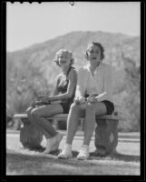 Jane Hollingsworth and Mignon Wolderman relax in the sun, Palm Springs, 1935