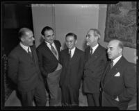 Foreign Consuls Adrian Hartog, Paul Otto Tobeler, Yi-seng S. Kiang, Henry C. Niese, and Duke N. Banks at the Jonathan Club, Los Angeles, 1935