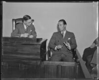 Coroner Frank Nance and Hal Le Sueur at inquest, Los Angeles, 1935