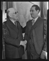 Former Consul Dr. Gregorio Del Amo greets the new Consul Dr. Enrique Carlos de la Casa of their home country Spain, Los Angeles, 1935
