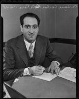 New Spanish consul Enrique Carlos de la Casa at his desk, Los Angeles, 1935