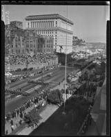 Armistice Day parade outside of the Los Angeles City Hall, Los Angeles, 1935