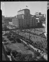 Armistice Day parade outside of the Los Angeles Times Building, Los Angeles, 1935
