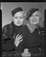 Clara Callahan Ates and Dorothy Ates, ex-wife and daughter of Roscoe Ates at court hearing, Los Angeles, 1935