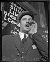 Jerry Parker, train caller at Southern Pacific depot, Los Angeles, 1935