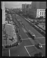 An aerial shot of the Stock Show Parade, Los Angeles, 1935