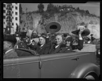 Mayor Frank Shaw, Gov. Merriam, and J. A. McNaughton at the Stock Show Parade, Los Angeles, 1935