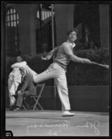 John Hennessey playing tennis, Los Angeles, 1928