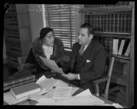 Suspect Edna Herbst and special investigator Blayney Matthews, Pasadena, 1933