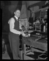 Dr. John Herman working, Los Angeles, 1938-1939