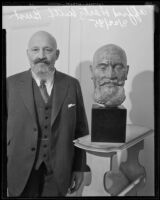 Alfred Hertz with a bust of his head, Los Angeles, 1935