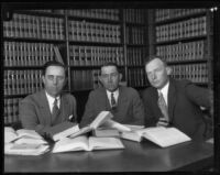 J. H. Hoffman, Jess Hession, and E. W. Davis confer, Independence, circa 1927