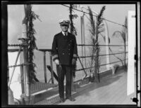 Commander Andrew S. Hickey on a ship, Los Angeles