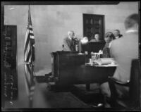 Autopsy Surgeon Andrew F. Wagner testifies at William Edward Hickman murder trial, Los Angeles, 1928