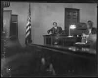 Dr. Cecil E. Reynolds testifies on William Edward Hickman's mental condition, Los Angeles, 1928