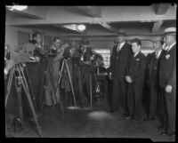 Photographers capture Jerome Walsh, William Edward Hickman, Roy Bogle, and Claude Peters at the County Jail, Los Angeles, between 1927-1928