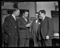 Frank Dewar, Buck Lieuallen, Ed King, and Eugene Biscailuz during the Hickman kidnapping and murder trial, Los Angeles, between 1927 and 1928