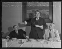 A. J. Hill, Lawrence M. Judd, and Lewis Cruckshank at a planning meeting, Southern California, 1935