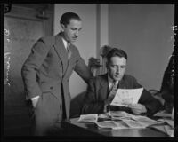 Dr. Benjamin Blank and Sergeant Howard L. Barlow during the trial of William Edward Hickman, Los Angeles, 1928