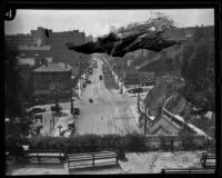Bird's-eye view of downtown from top of Hill St. Tunnel, Los Angeles, circa 1921-1923