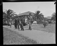 Brigadier-General Sherwood A. Cheney and Colonel Charles H. Hilton at Fort MacArthur, San Pedro, 1933